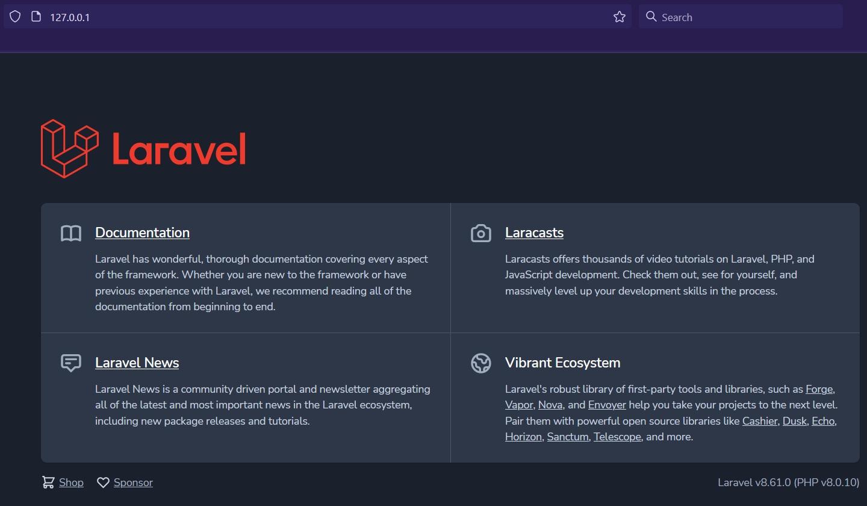 Install Laravel using Docker Desktop on Windows 10 - Home Page