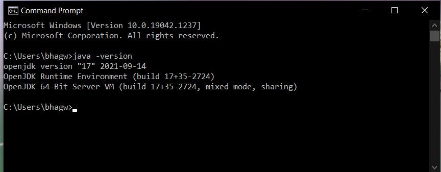 Install Java 17 or OpenJDK 17 on Windows 10 - Verify Installation