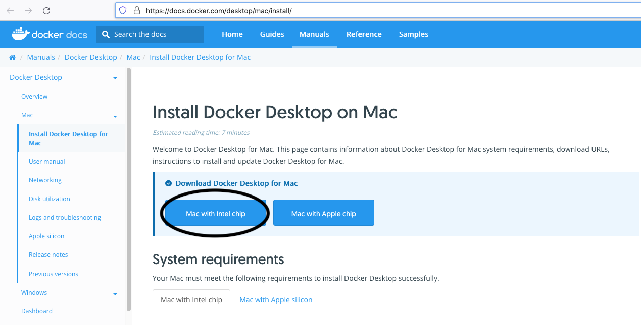 Install Docker Desktop on macOS - Download Options