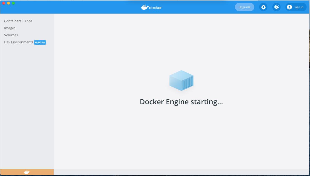 Install Docker Desktop on macOS - Engine Starting