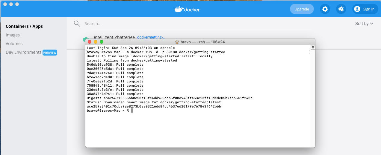 Install Docker Desktop on macOS - Getting Started Image