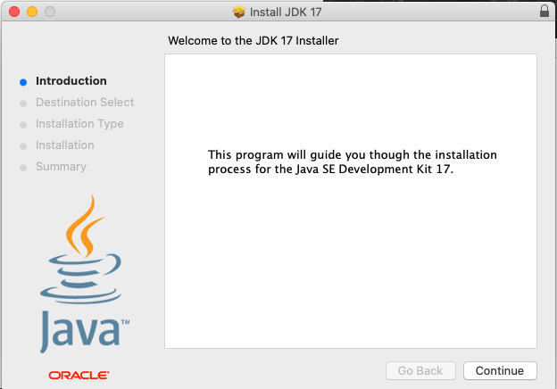 Install Oracle Java 17 or JDK 17 on macOS - Welcome Screen