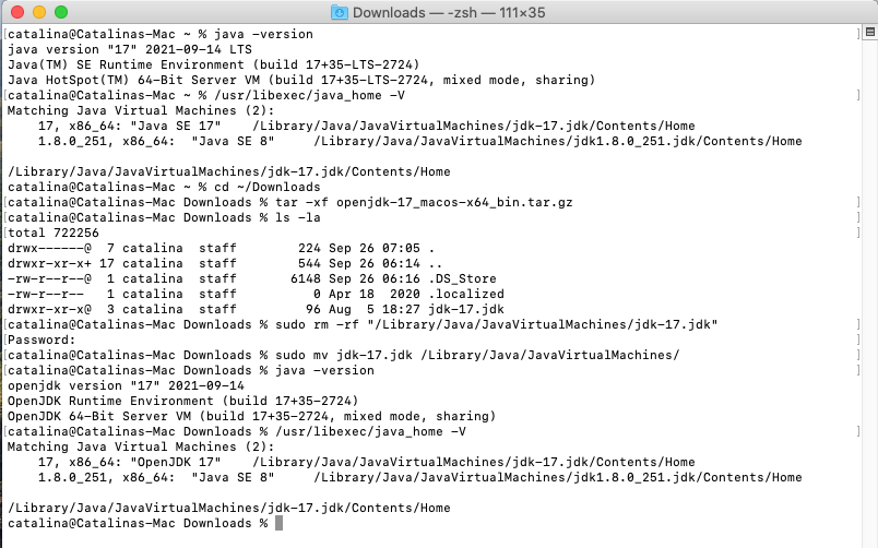Install OpenJDK 17 or JDK 17 on macOS - Installation Commands