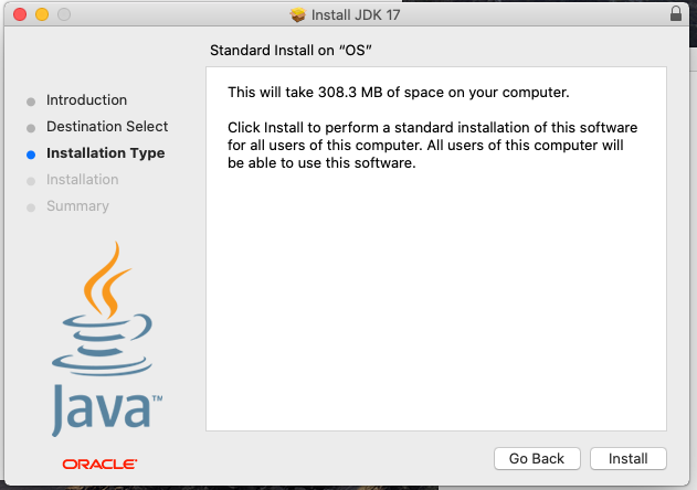 Install Oracle Java 17 or JDK 17 on macOS - Installation Type