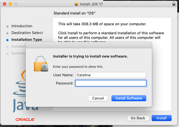 Install Oracle Java 17 or JDK 17 on macOS - Installation Permission