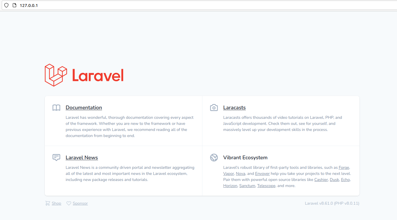 Install Laravel On Ubuntu Using Docker Engine and Laravel Sail - Welcome Page