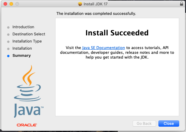 Install Oracle Java 17 or JDK 17 on macOS - Installation Success