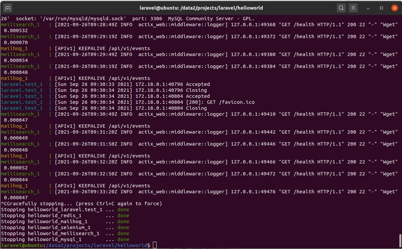 Install Laravel On Ubuntu Using Docker Engine and Laravel Sail - Exit Sail