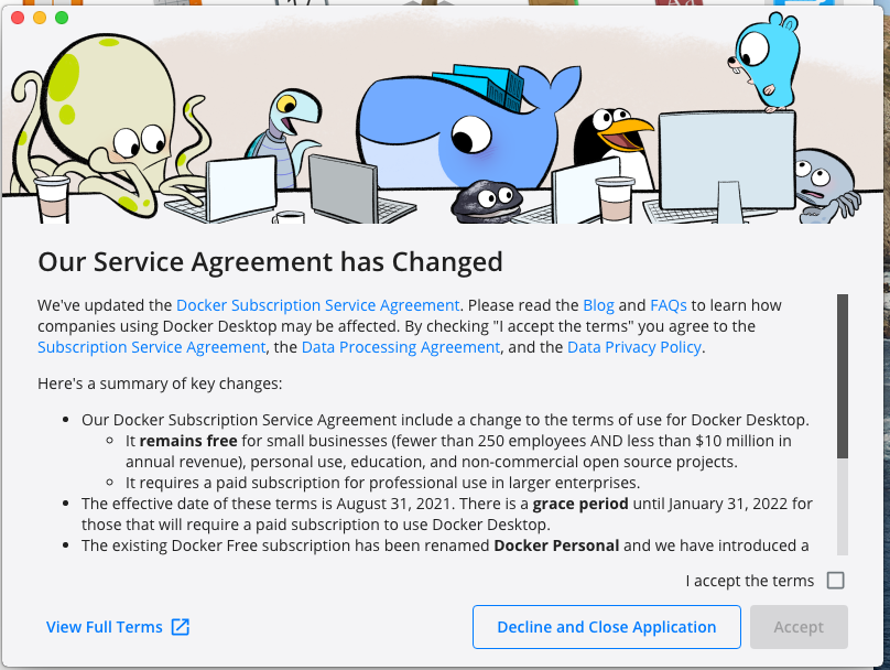 Install Docker Desktop on macOS - License Agreement