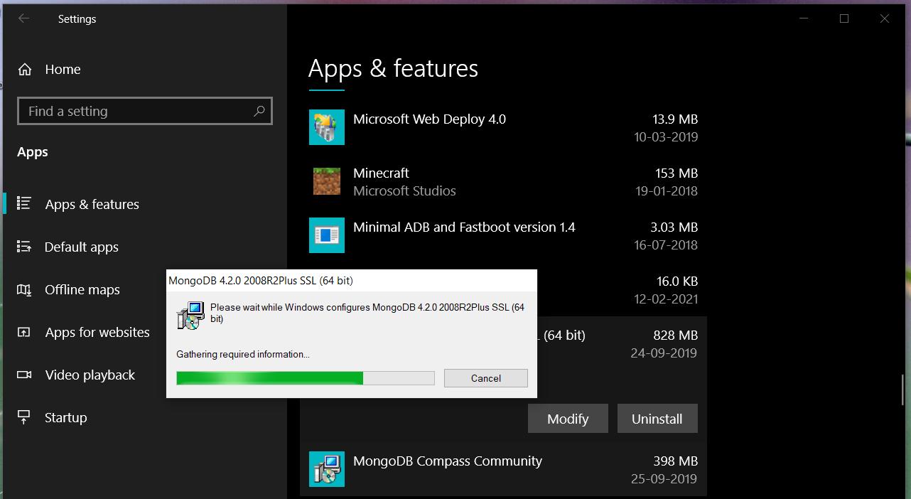 Uninstall MongoDB from Windows and Ubuntu - Uninstall Progress