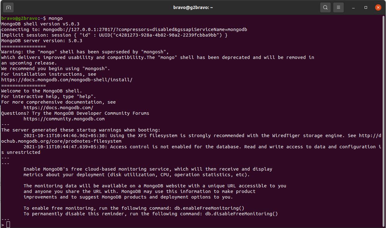 Install MongoDB 5 on Ubuntu 20.04 LTS - Mongo Shell