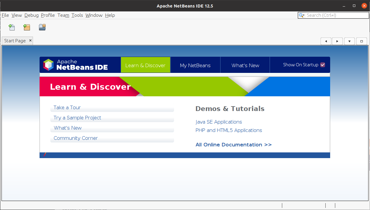 Install NetBeans 12 for PHP On Ubuntu 20.04 - Start Page