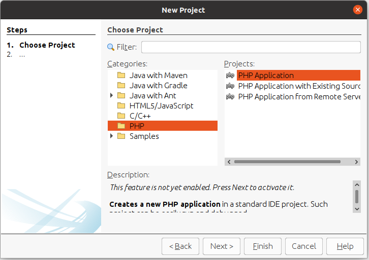 Install NetBeans 12 for PHP On Ubuntu 20.04 - New Project Options