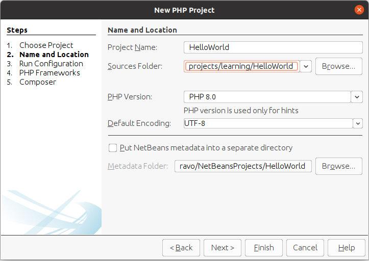 Install NetBeans 12 for PHP On Ubuntu 20.04 - Project Name and Location