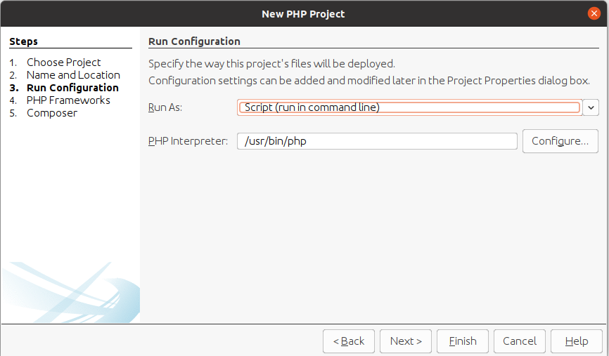 Install NetBeans 12 for PHP On Ubuntu 20.04 - Run Configuration