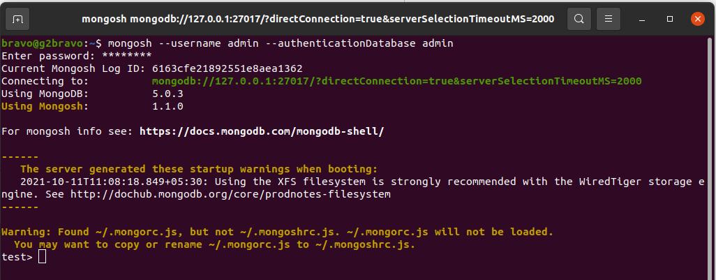 Install MongoDB 5 on Ubuntu 20.04 LTS - Secure mongosh