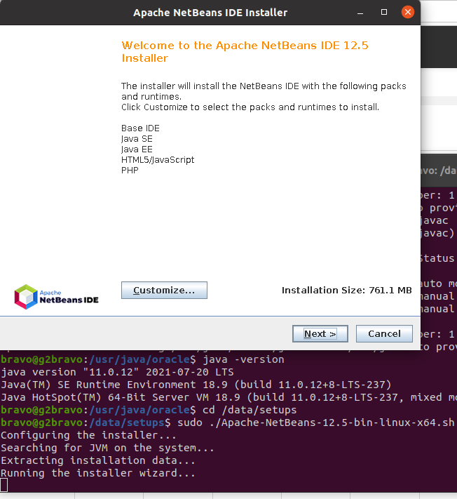 Install NetBeans 12 for PHP On Ubuntu 20.04 - Installer - Welcome Screen