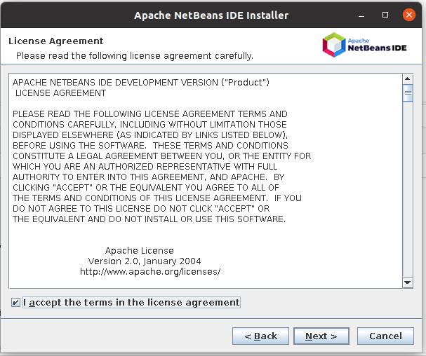 Install NetBeans 12 for PHP On Ubuntu 20.04 - Installer - License Agreement