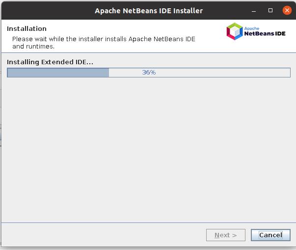 Install NetBeans 12 for PHP On Ubuntu 20.04 - Installation Progress